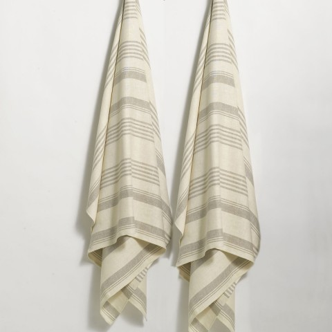 Anichini Olga Striped Flatweave Linen Bath Linens