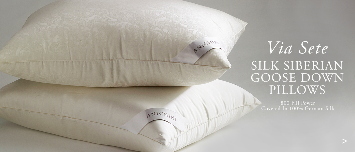 Anichini Via Sete Silk Luxury Siberian Goose Down Pillows