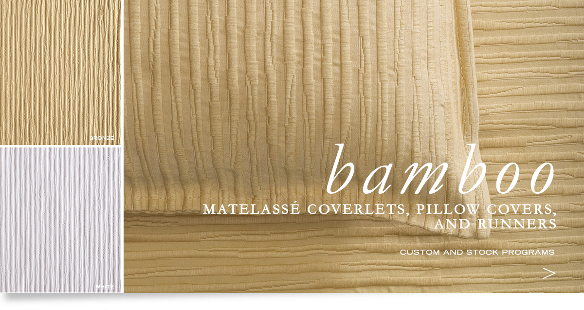 Custom Hospitality Top-Of-Bed - Bamboo Matelassé Bedcovers, Runners, And Pillow Shams