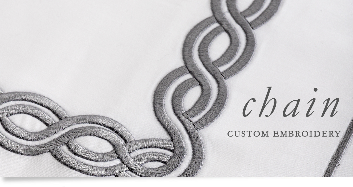 Custom Hospitality Sheeting With Chain Embroidery