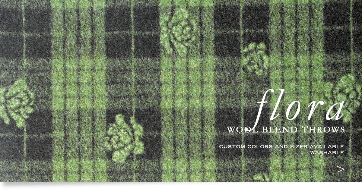 ANICHNI Hospitality Washable Throws - Flora Washable Wool  Blend Throws
