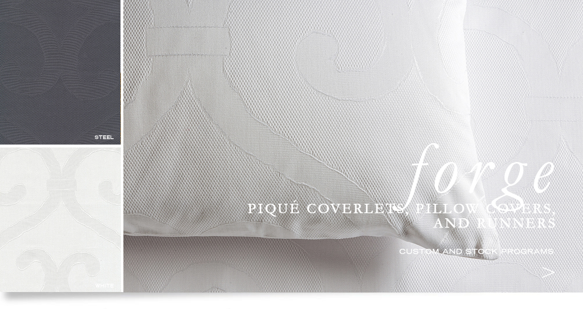 Custom Hospitality Top-Of-Bed - Forge Piqué Bedcovers, Runners, And Pillow Shams