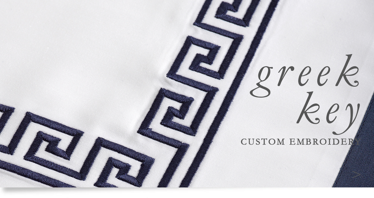 Custom Hospitality Sheeting With Greek Key Embroidery