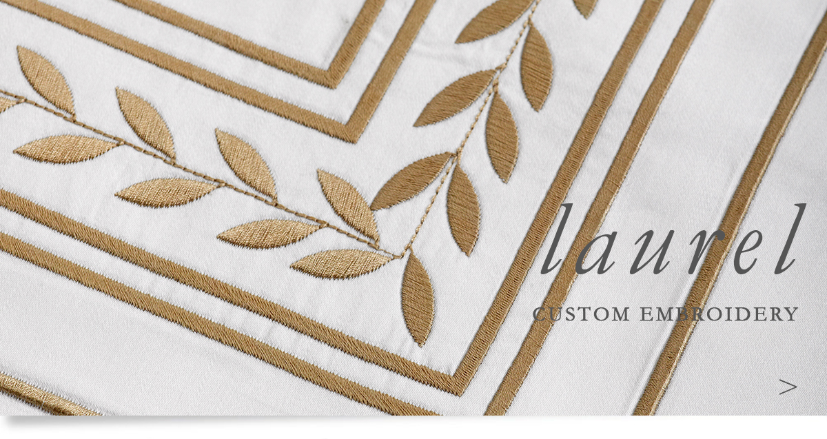 Custom Hospitality Sheeting With Laurel Embroidery