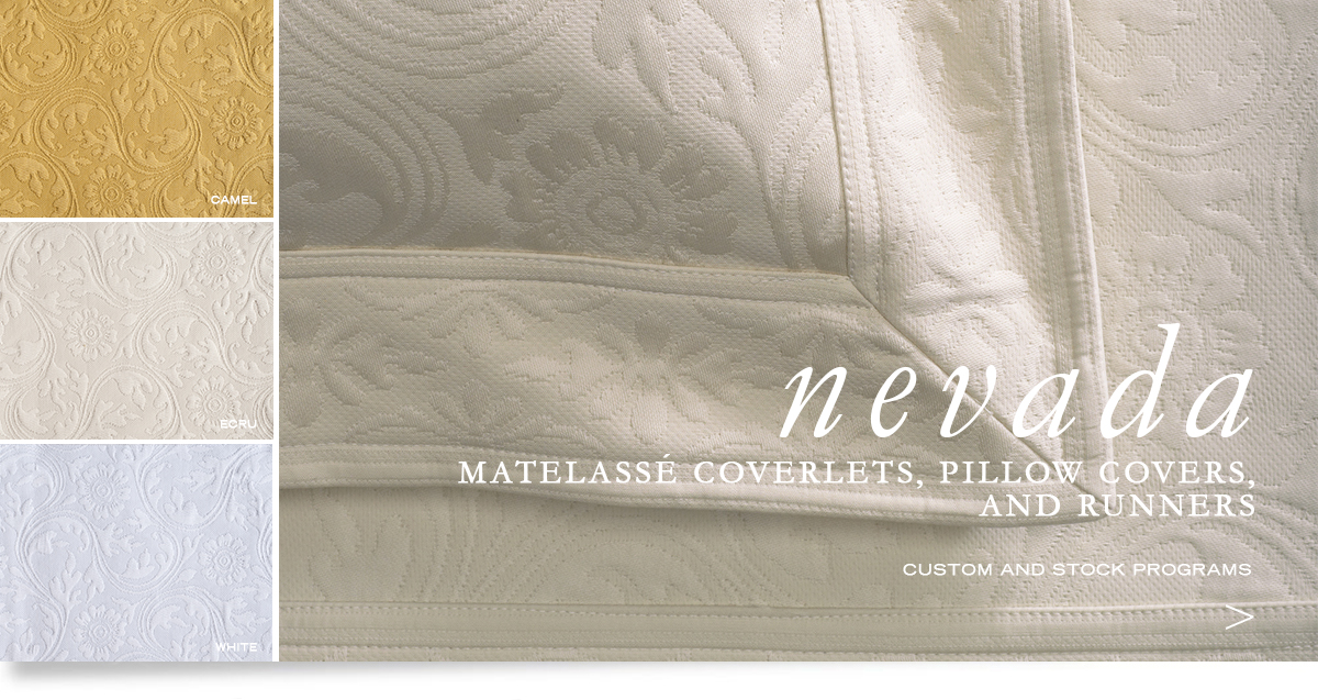 Custom Hospitality Top-Of-Bed - Nevada Matelassé Weave Bedcovers, Runners, And Pillow Shams