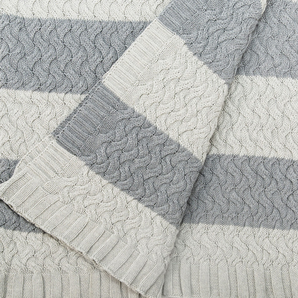ANICHINI Kh08-022 Stripe Cotton Knit Throw For The Hospitality Market